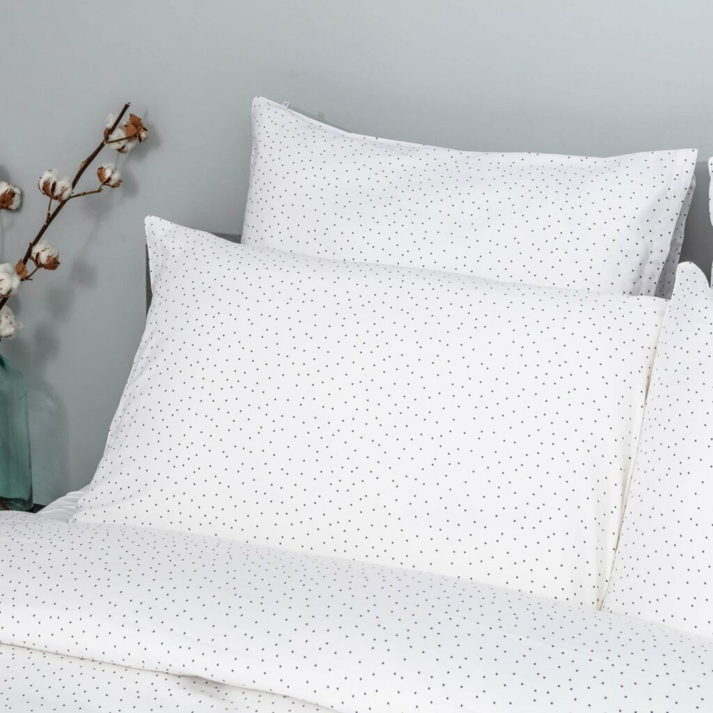 cotton sateen bedroom small grey dots 2