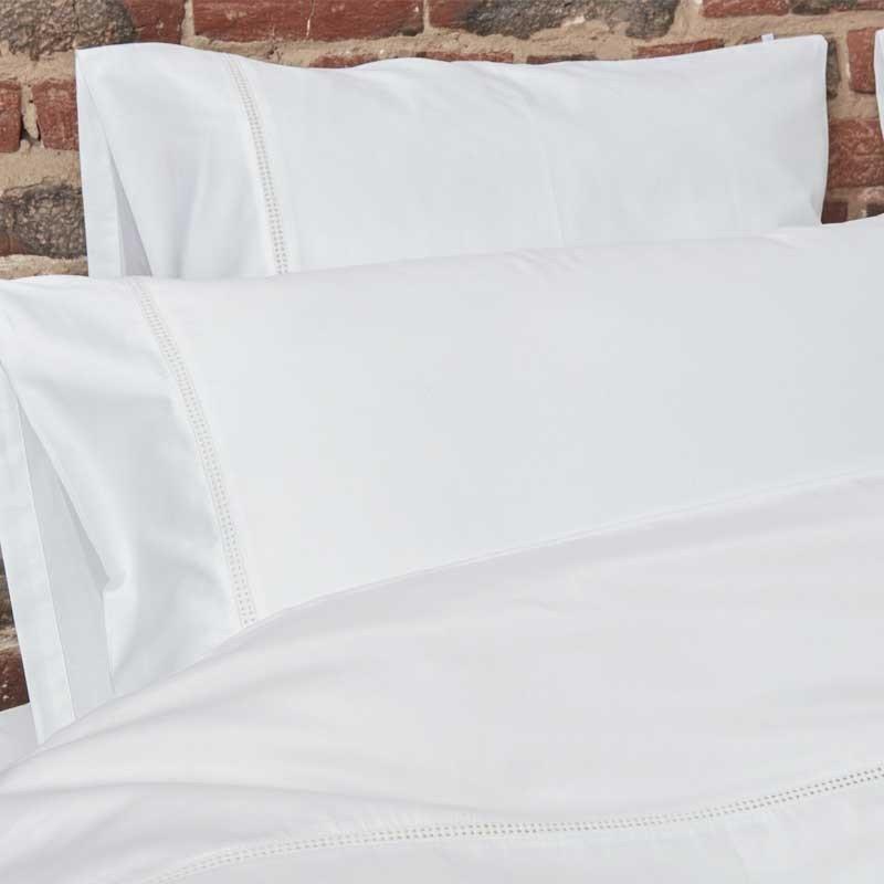 Cotton Sateen Lace Trim Pillowcase Snow White 18