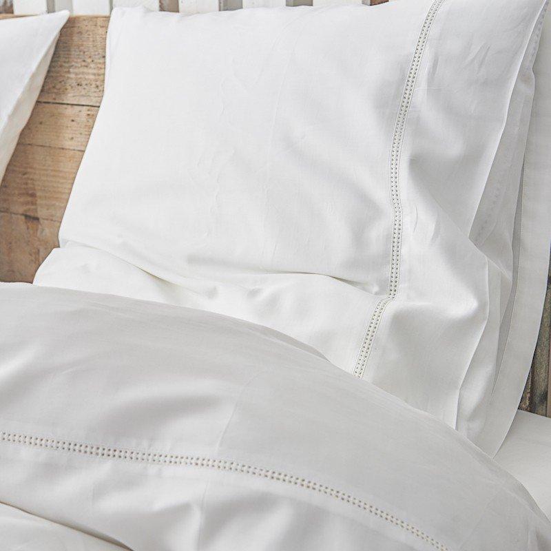 Cotton Sateen Lace Trim Pillowcase Snow White 2