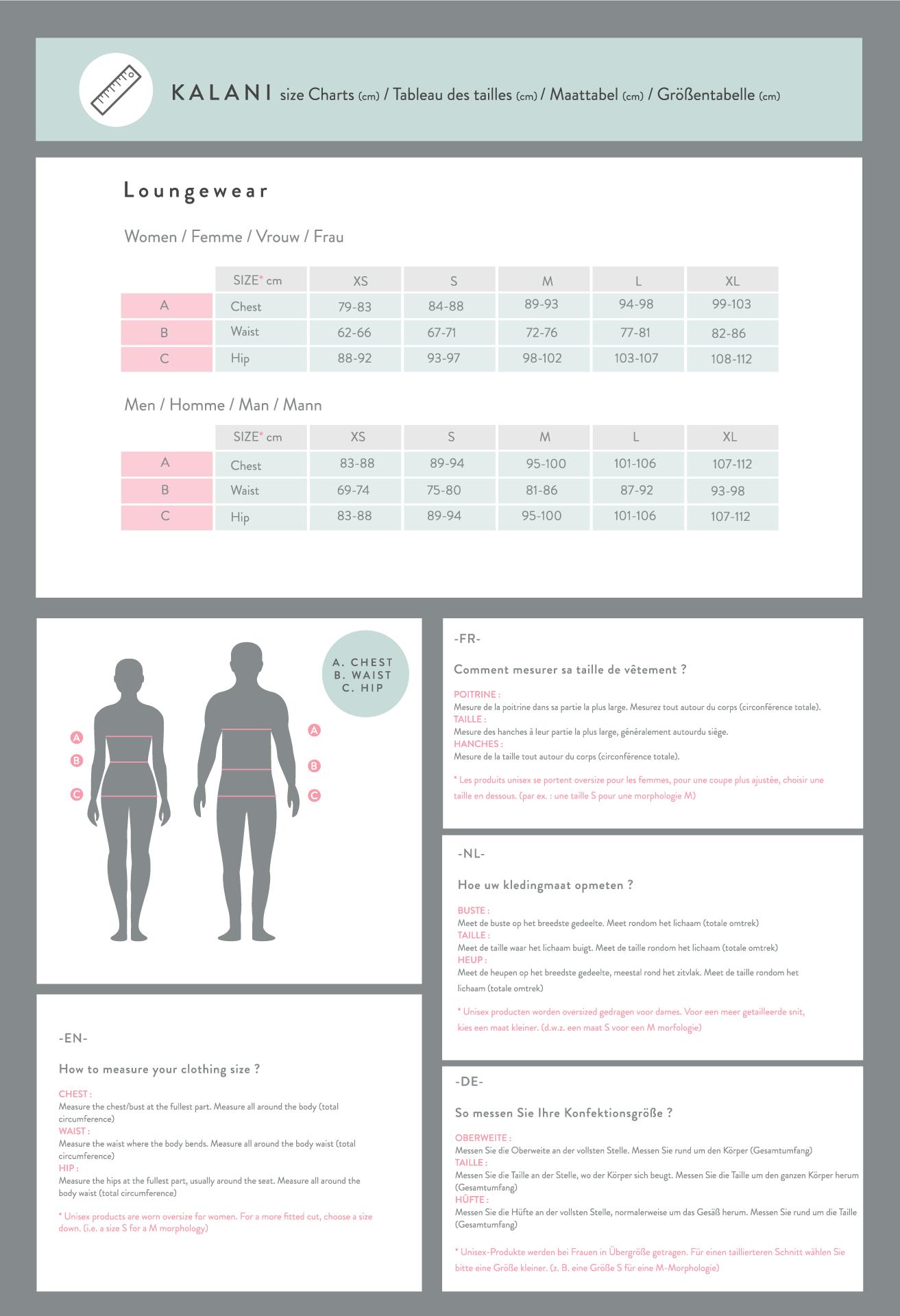 Size Guide Loungewear Men / Unisex