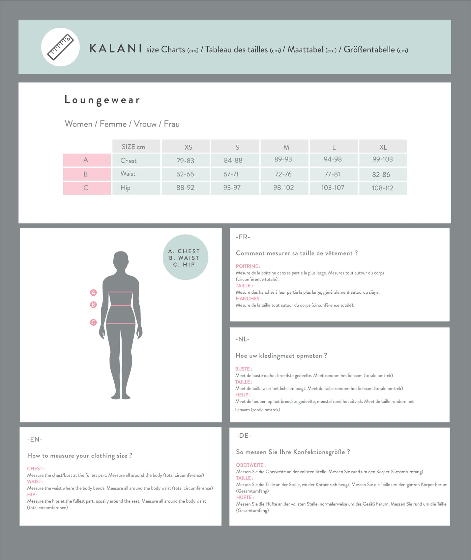Size Guide Loungewear Women