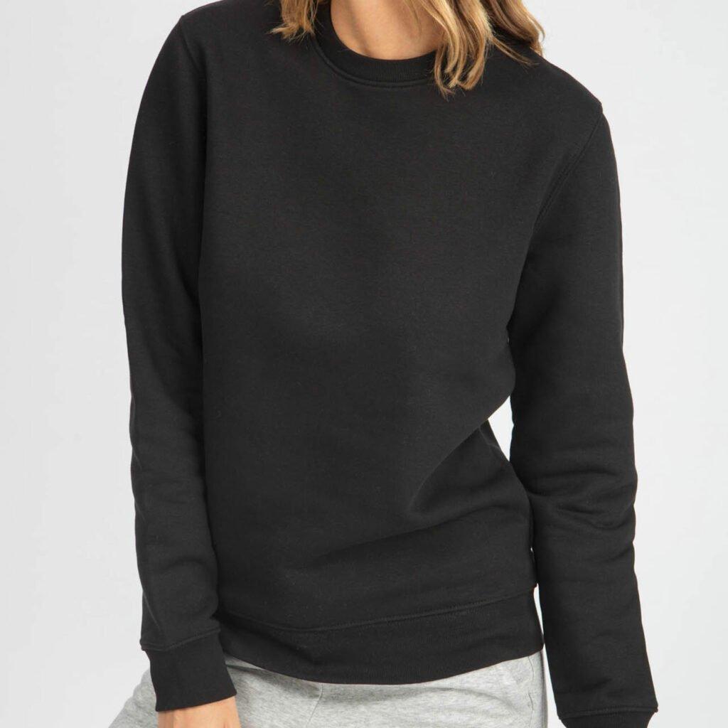 sweat unisex organic crewneck pullover organic crewneck pullover black 1