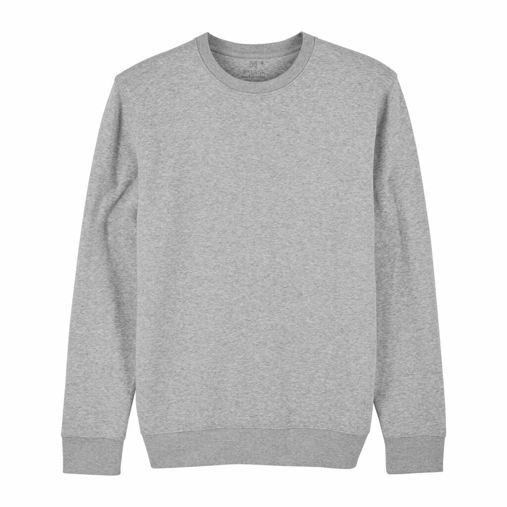 sweat unisex organic crewneck pullover organic crewneck pullover heather grey front