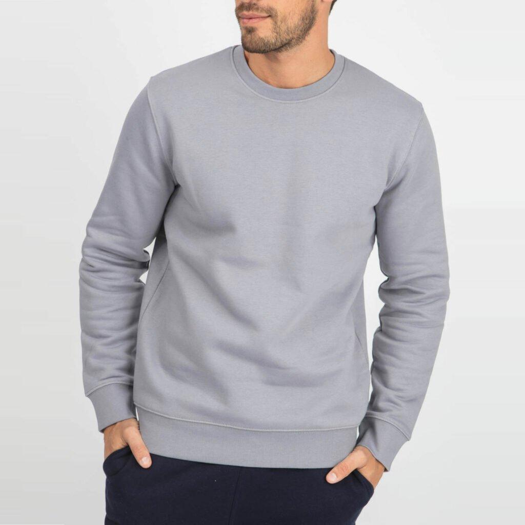 sweat unisex organic crewneck pullover organic crewneck pullover lava grey 1