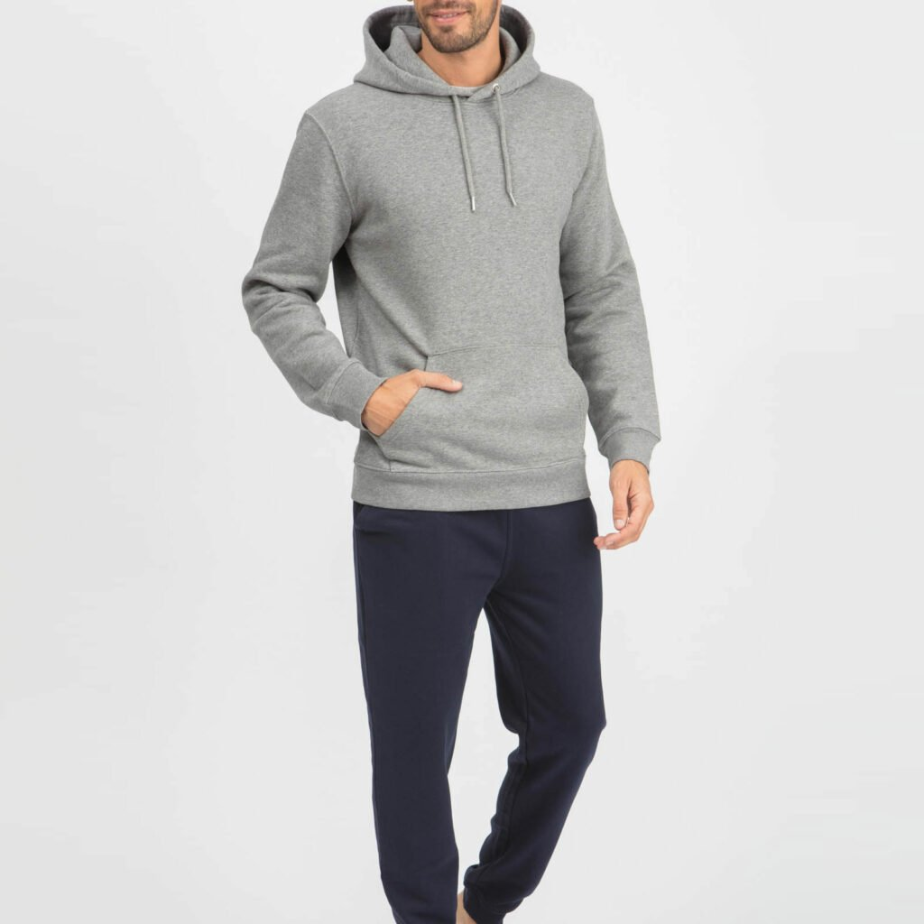 sweat unisex organic hooded pullover organic hooded pullover mid heather grey 1