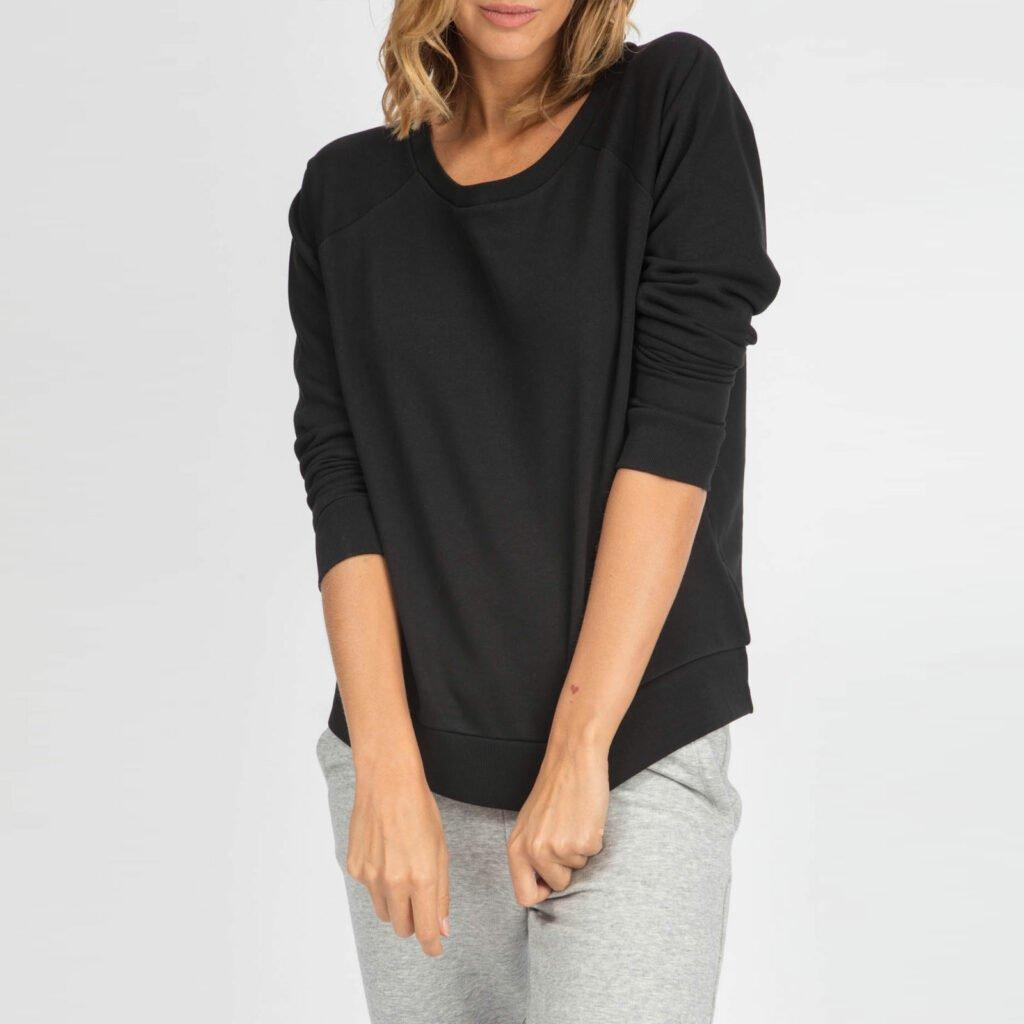 sweat women organic w crewneck pullover organic w crewneck pullover black 1