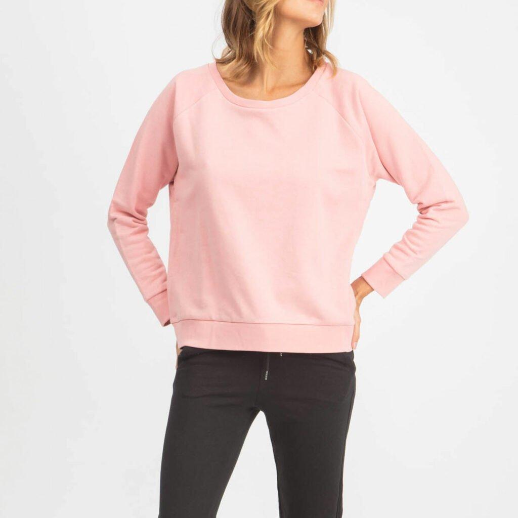 sweat women organic w crewneck pullover organic w crewneck pullover canyon pink 3