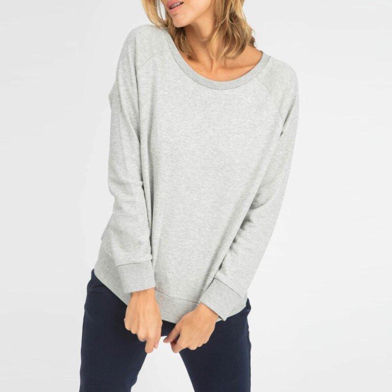 sweat women organic w crewneck pullover organic w crewneck pullover heather grey 1