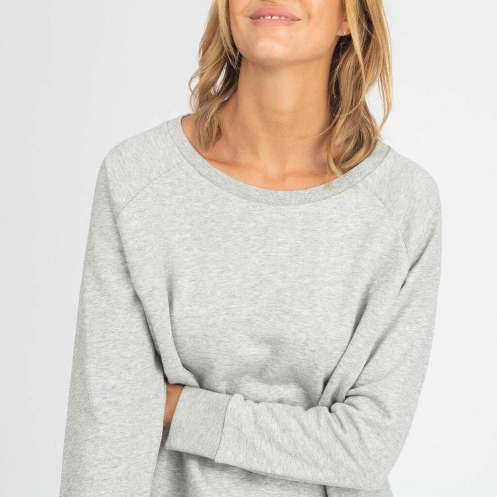 sweat women organic w crewneck pullover organic w crewneck pullover heather grey 2