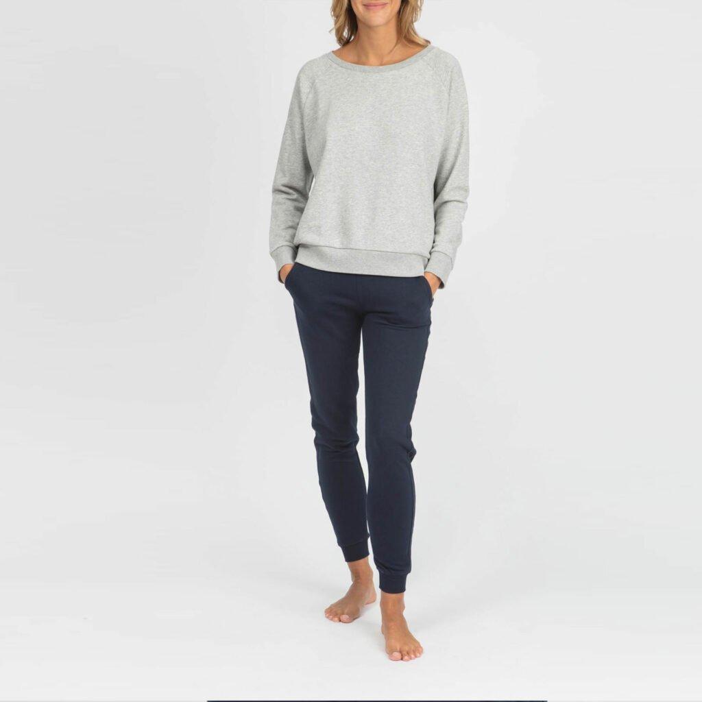 sweat women organic w crewneck pullover organic w crewneck pullover heather grey 3