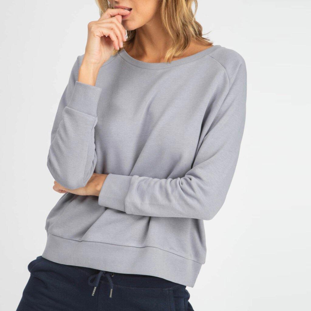 sweat women organic w crewneck pullover organic w crewneck pullover lava grey 1