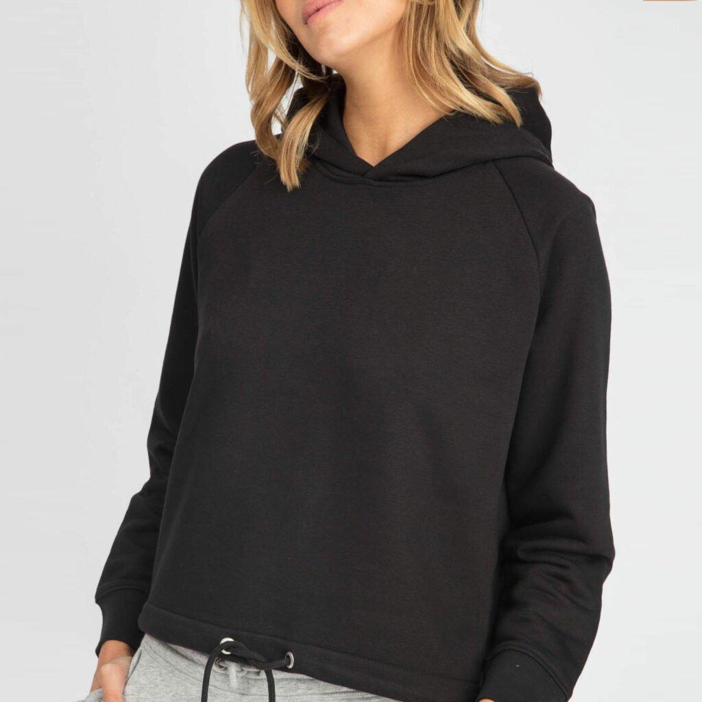 sweat women organic w hooded pullover organic w hooded pullover black 1