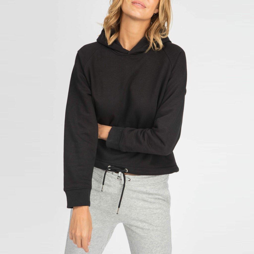 sweat women organic w hooded pullover organic w hooded pullover black 3