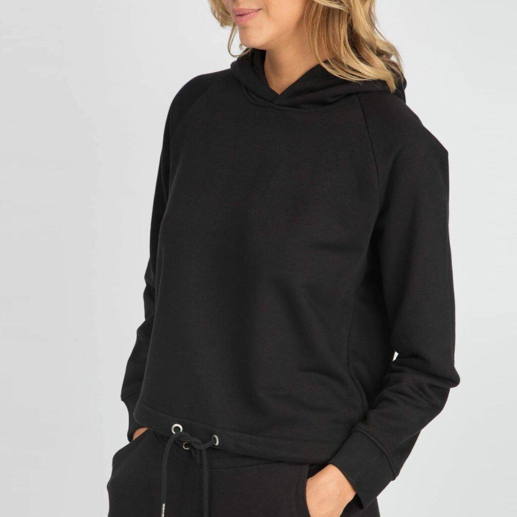 sweat women organic w hooded pullover organic w hooded pullover black 4