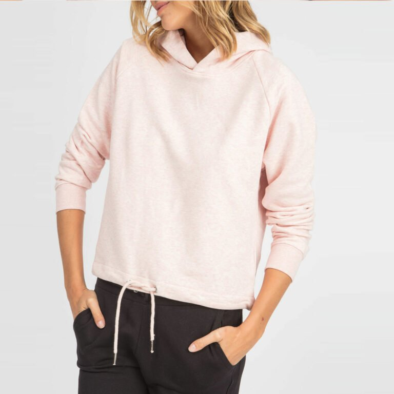 sweat women organic w hooded pullover organic w hooded pullover cream heather pink 1