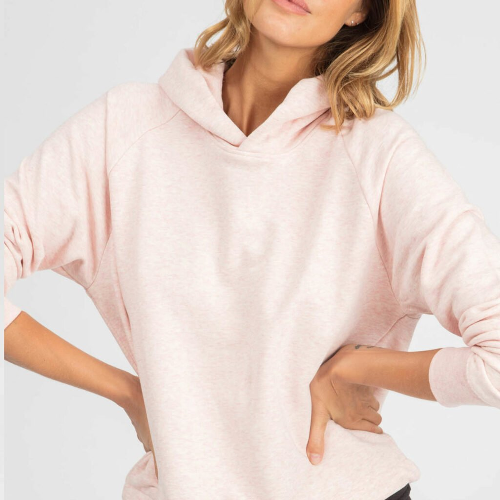 sweat women organic w hooded pullover organic w hooded pullover cream heather pink 2