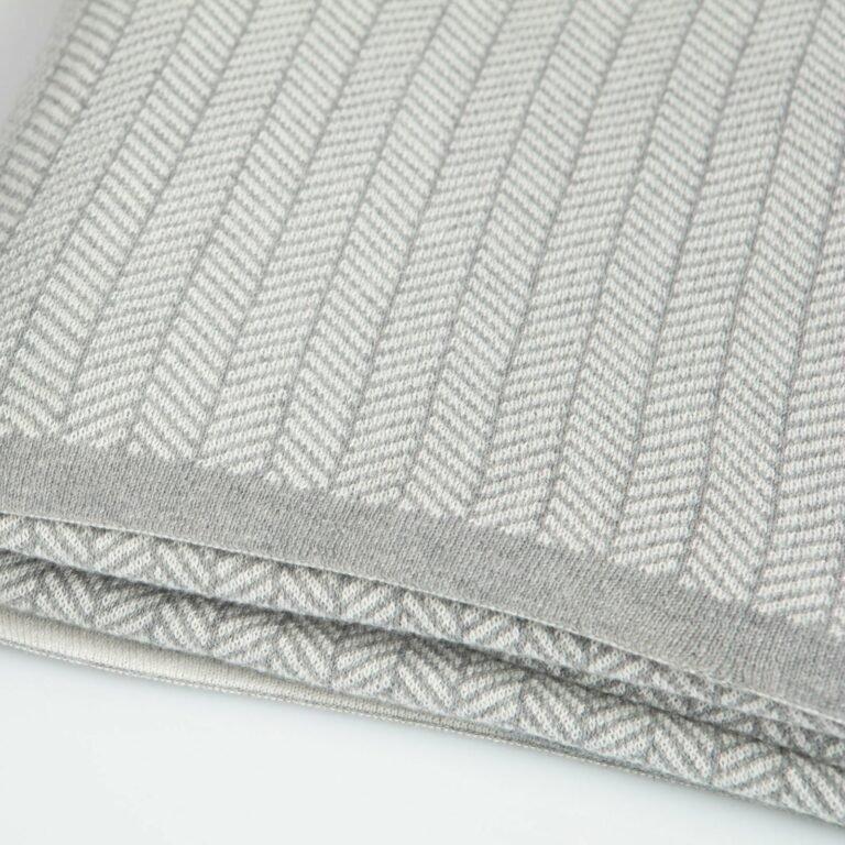 throw herringbone light grey melange+white 130x180 2
